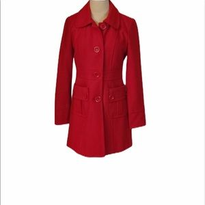 Tulle/anthropology red wool blend coat